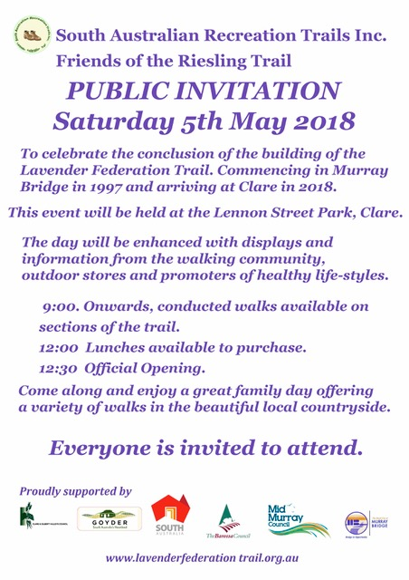 Clare May 5th 2018 Opening of the Lavender Federation Trail Poster