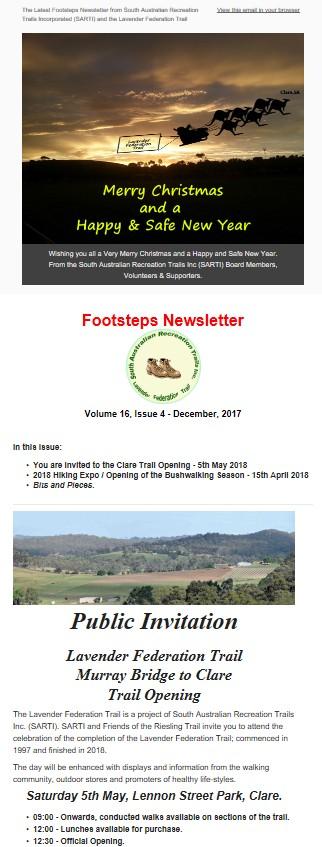 Footsteps Newsletter - December 2017
