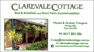 Clarevale Cottage B&B and Short Term Accommodation - Clare SA