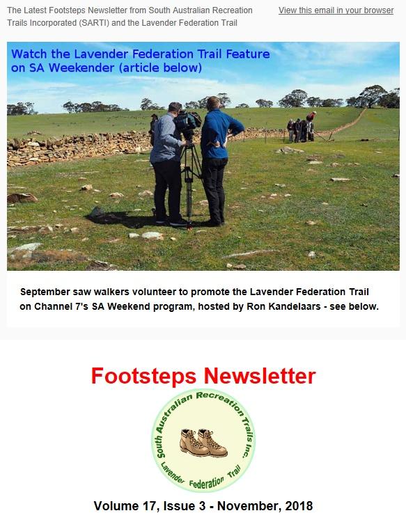 Footsteps Newsletter Cover Nov 2018