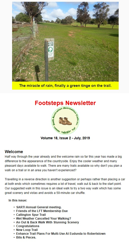 Footsteps Newsletter Cover Page and Index July 2019